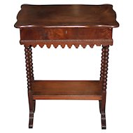 American Victorian Mahogany Spindle Leg Console Table w/ Drawer c.1900