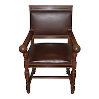 American Oak & Leather Arm Chair c.1910