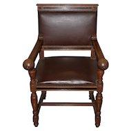 American Oak & Leather Arm Chair c.1910