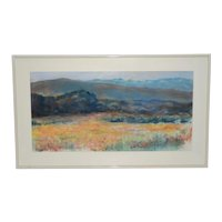 Pastel Rolling Hills Landscape w/ Wildflowers by P. Keefe c.1986