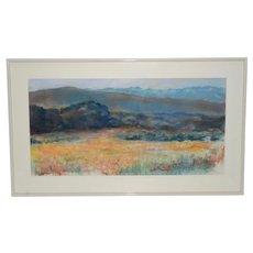 Pastel Rolling Hills Landscape w/ Wildflowers by P. Keefe c.1986