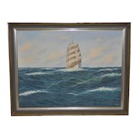 Maritime Clipper Ship Oil Painting by E. Osswald c.1940s