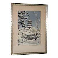 Benji Asada (1899-1984) Snow Scene of Yasaka Pagoda, Kyoto Woodblock c.1950