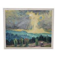 August Philipp Henneberger (German, 1902-1980) Illuminated Path Oil Painting c.1950
