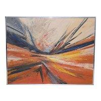 Hilda Pertha (1911-2011) Mid Modern Abstract Oil Painting c.1973
