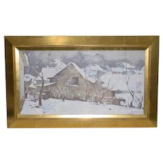 Emmanuil Abramovich Kaminski (Russian, b.1927) Winter Landscape w/ Barn c.1970