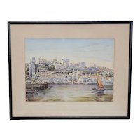 "Vintage ""Bahia, Brazil"" Impressionist Watercolor c.1940s"