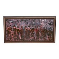 "Pascal Cucaro ""The Procession"" Original Oil Painting c.1970"