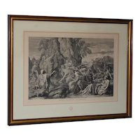 Moses Strikes the Rock Louvre Museum Etching Late 19th Century