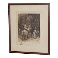 """Jean-Louis Ernest Meissonier """"The Roadside Inn"""" Etching c.1876"""