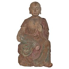 19th c. Polycrhome Painted Wood Seated Buddhist Luohan
