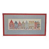Vintage Bruges Row Houses Original Watercolor c.1980s