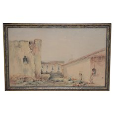 "Marie A. Ney ""California Mission"" Watercolor c.1890s"