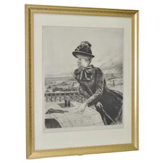 """Norbert Goeneutte (1854-1894) """"Heights of Montmarte"""" Drypoint Etching c.1885."""