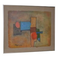 Vintage Abstract Mixed Media with Oil on Hand Made Paper c.1979