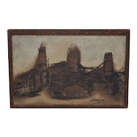 Abstract Cityscape by Beat Era San Francisco Artist George Bertuccelli c.1960s