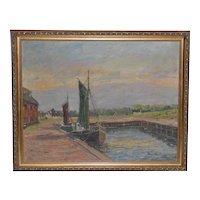 Dutch Landscape with Canal & Sailboat c.1920