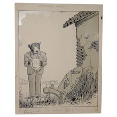 Fred Lundy CA Great Depression Cartoon Illustration c.1938 *RARE*