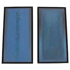 Elaine Kurtz (b.1928) Pair of Vintage Minimalist Paintings c.1980s