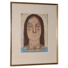 Abraham Walkowitz (1878-1965) Pastel Portrait of Isadora Duncan c.1920's