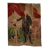 Rare George Washington Hand Embroidered Tapestry c.1850s