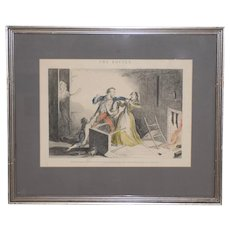 """George Cruikshank """"The Bottle"""" Plate VI Hand Colored Engraving 19th c."""