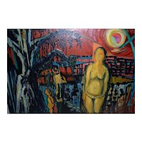 Vintage Expressionist Oil Painting with Figures