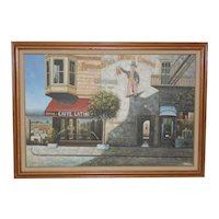 "Vintage San Francisco ""Cafe Latini"" Oil Painting"