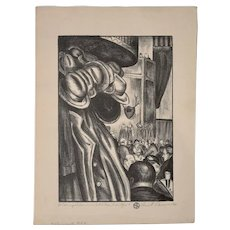 "Charles F. Ramus (1902-1979) ""Hats & Beer, Frankfurt"" Signed Lithograph c.1931"