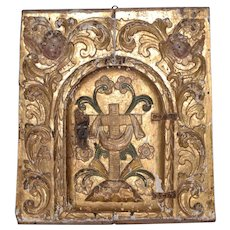 Spanish Colonial Carved, Gilded & Painted Panel