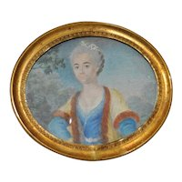 Elegant Older Woman with Gray Hair and Pearls Portrait Miniature 19th c.