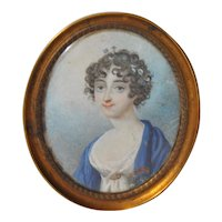 19th c. Portrait Miniature Young Woman with Flowers in Her Hair