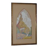 Lovely Fantasy Castle on a Hill Gouache Painting c.1920s