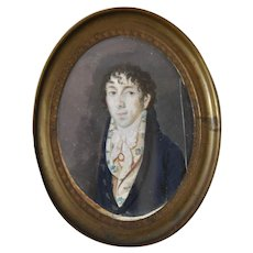 Mid 19th Century Portrait Miniature Young Man w/ Floral Vest c.1860s