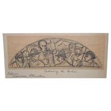 "Boris Deutsch (1892-1978) ""Crossing the Andes"" Mural Study in Graphite c.1930s"