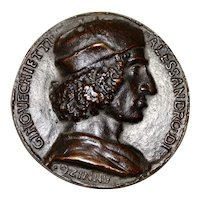 Rare 15th Century Bronze Relief Medallion of Allesandro di Gino Vecchietti c.1498