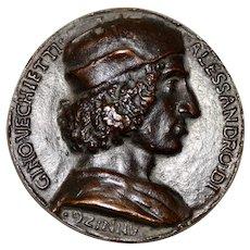 Rare 15th Century Bronze Relief Medallion of Allesandro di Gino Vecchietti c.1498