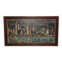 "Mid Century Modern ""Chicago Skyline"" Oil Painting c.1950s"