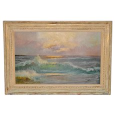 Vintage Coastal Sunset Oil Painting by Ward c.1950s