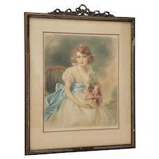 "Jessie Furber (British, 1800-1966)""HRH Princess Elizabeth"" Color Mezzotint c.1933"