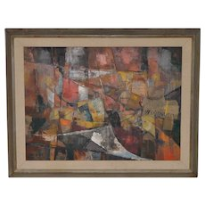 Jean Kalisch (California / Japan) Original Abstract Collage with Oil c.1957