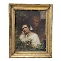 19th Century Oil Portrait of a Young Woman and Man