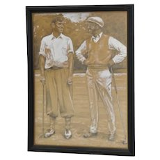 Vintage Graphite & Gouache Golfing Illustration by A.D. Mills c.1933