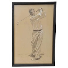 Vintage Graphite & Gouache Golfing Illustration by A.D. Mills c.1933