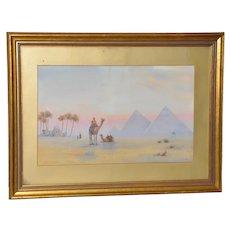 19th Century Watercolor Pyramids at Giza