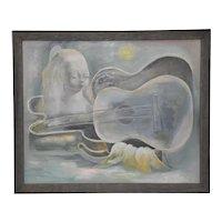 Nura Ulreich (American, 1899-1950) Musical Dreamscape Original Oil Painting c.1930s