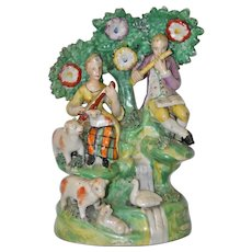 "Early Staffordshire Ralph Wood School ""Two Musicians with Sheep"" 18th c."