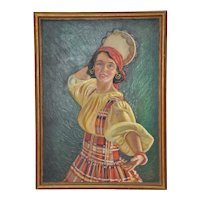 Vintage Early 20th Century Dancer with Tambourine Illustration Oil Painting