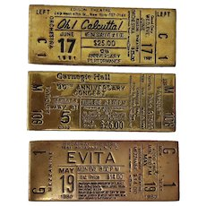 Set of Three Vintage Brass Souvenir Broadway Tickets c.1980s