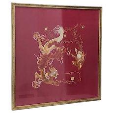Large Vintage Japanese Embroidered Dragon Tapestry Framed